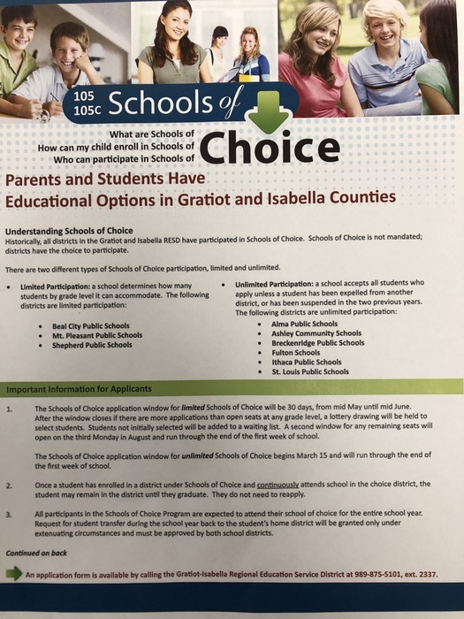 Schools of Choice for Shepherd Schools will be May 13th through June 14th. Forms can be picked up at Central Office.